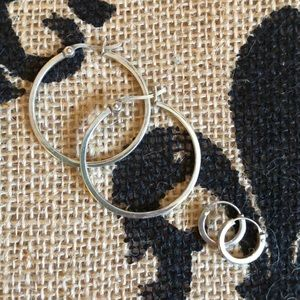 Jewelry - Large and Small Sterling Silver Hoop Earring Set